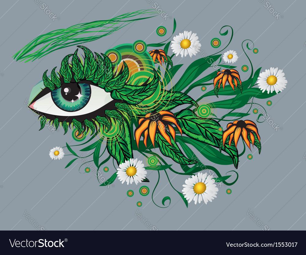 Floral summer eye vector   Price: 1 Credit (USD $1)