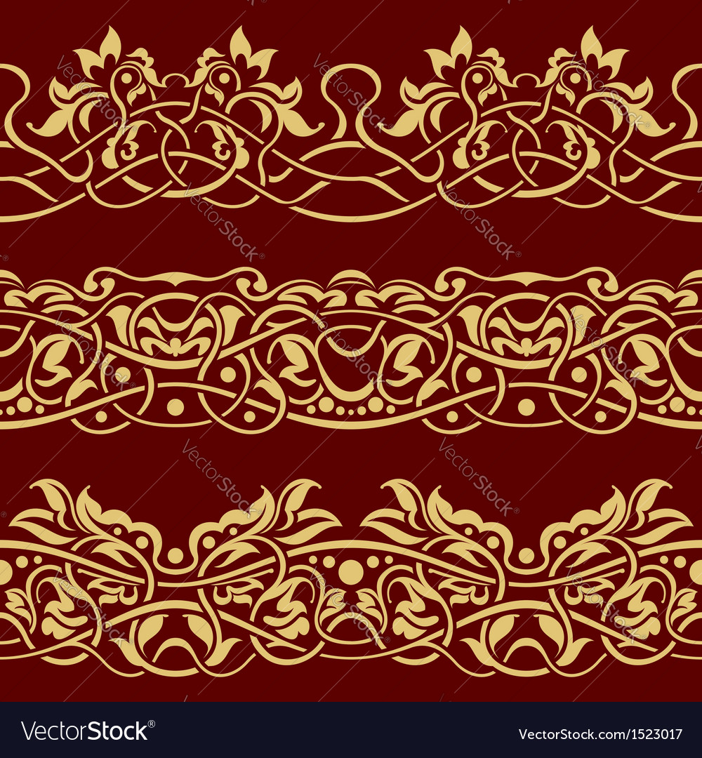 Gold floral seamless border design element vector | Price: 1 Credit (USD $1)