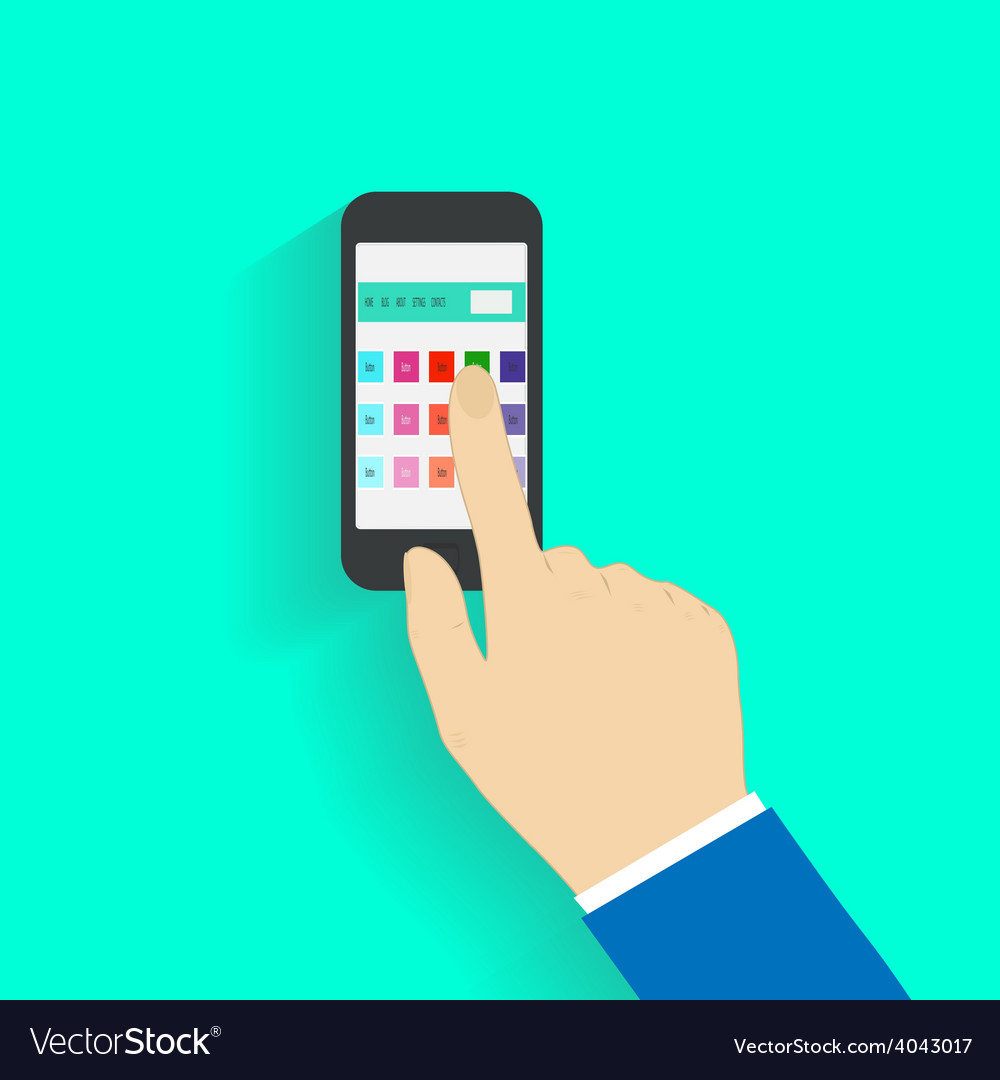 Human hand holding mobile phone vector | Price: 1 Credit (USD $1)