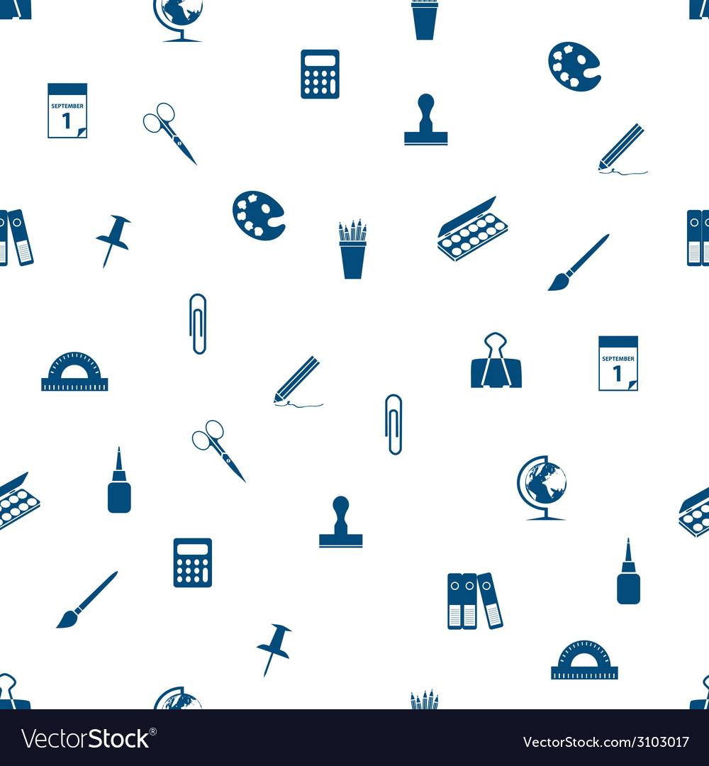 Stationery seamless pattern stationery seamless vector | Price: 1 Credit (USD $1)