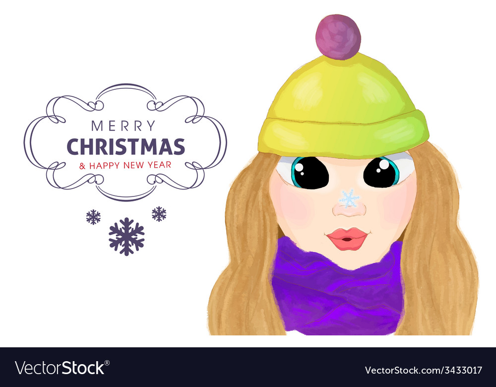 Winte cartoon girl with snowlake on her nose vector | Price: 1 Credit (USD $1)
