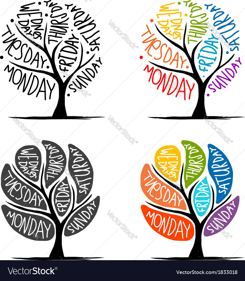 Art tree design with 7 petal days of week vector | Price: 1 Credit (USD $1)