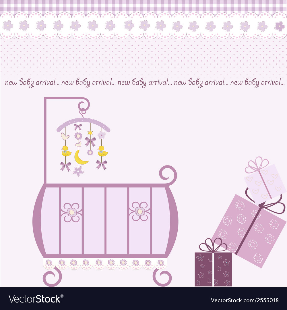 Baby girl shower invitation vector | Price: 1 Credit (USD $1)