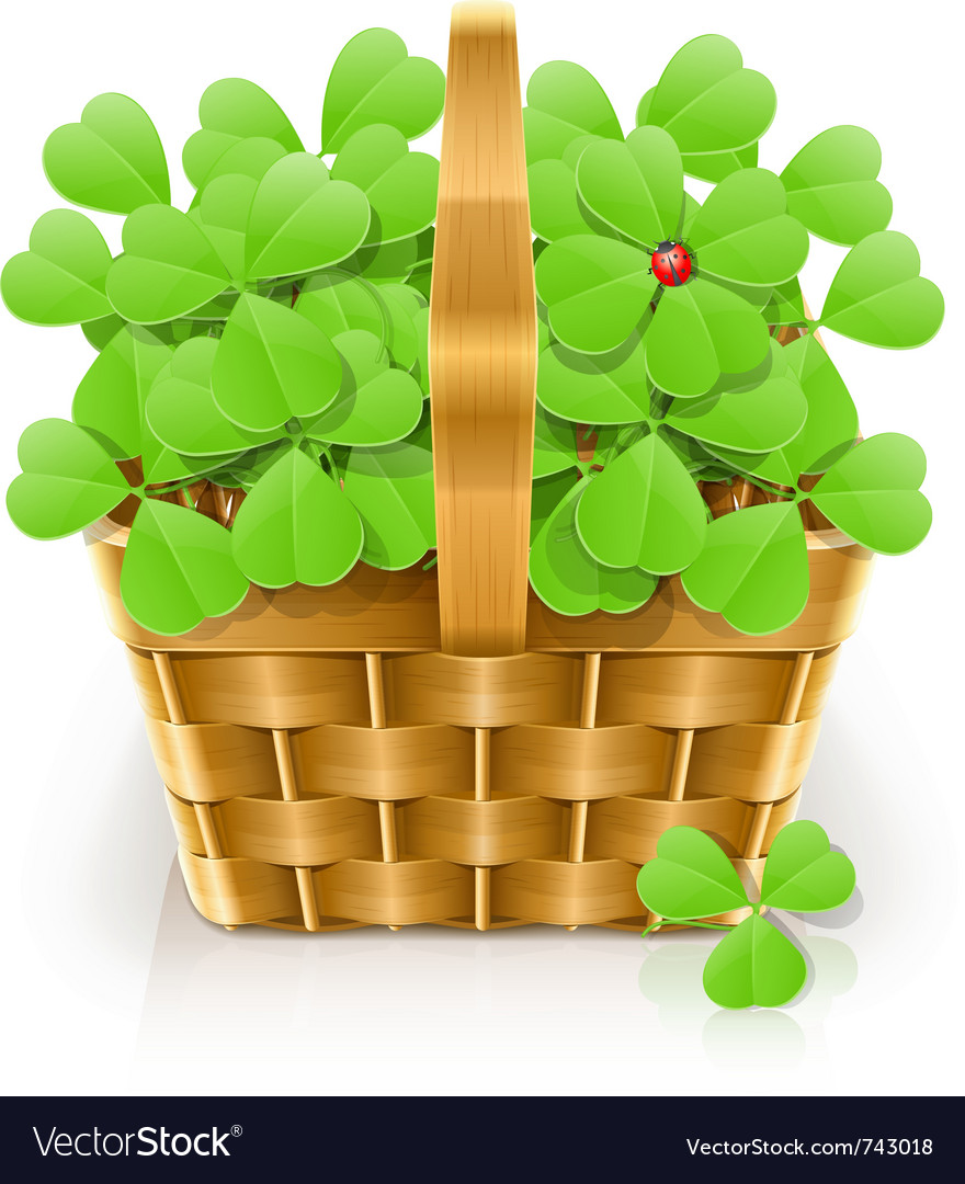 Basket with clover vector | Price: 1 Credit (USD $1)