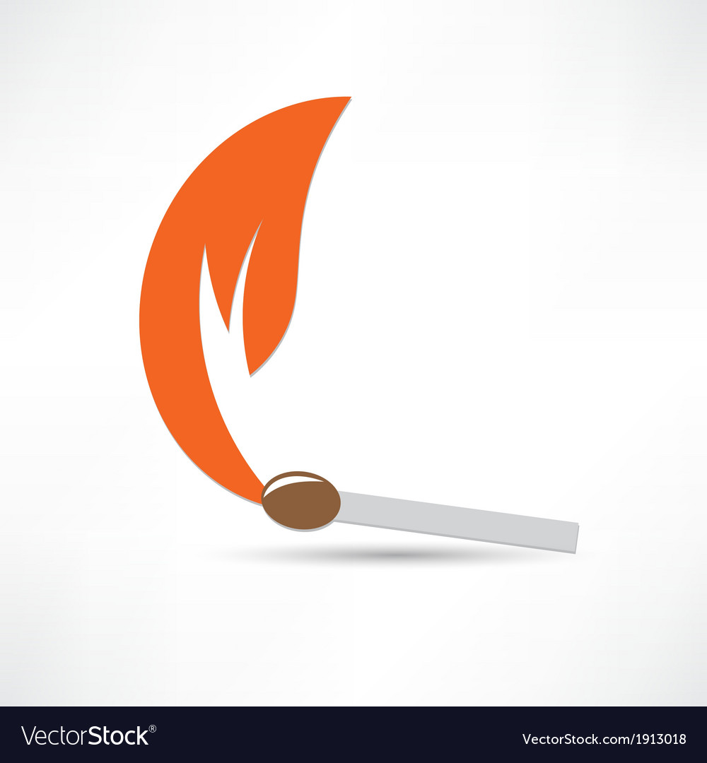 Burning match colored vector | Price: 1 Credit (USD $1)