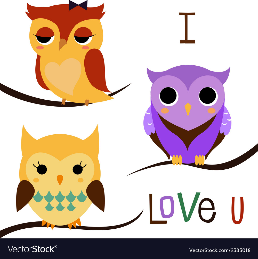 Cartoon owls set vector | Price: 1 Credit (USD $1)