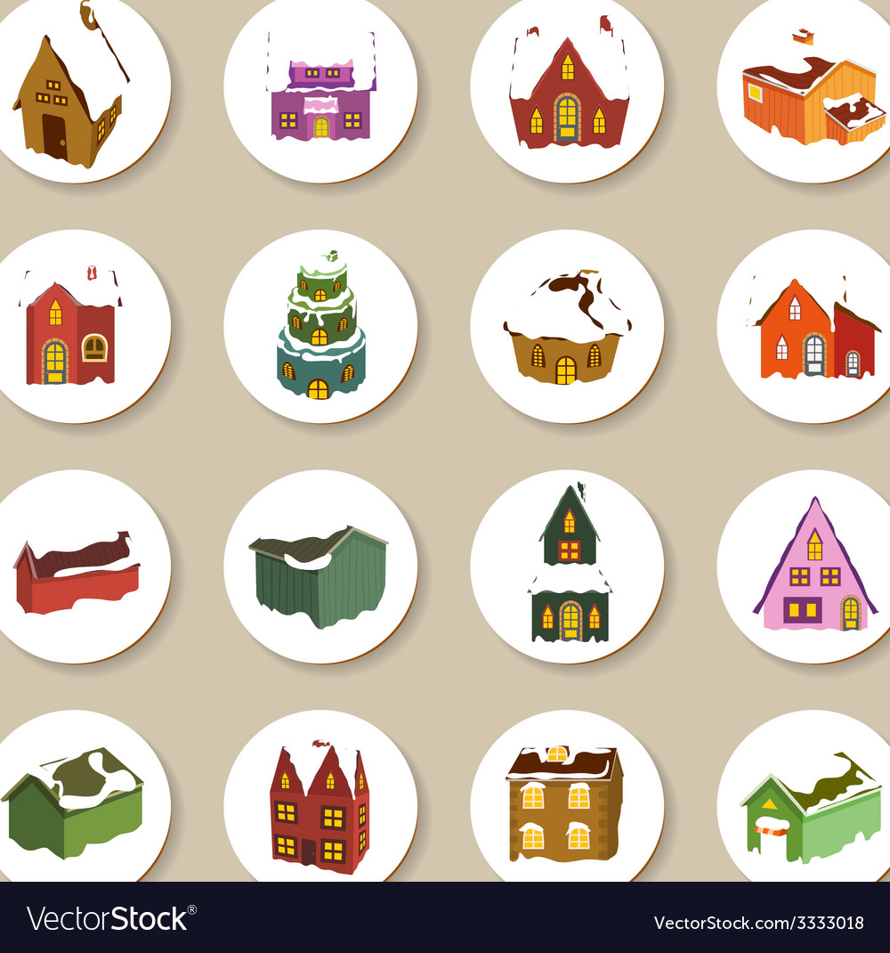 Collection of christmas houses labels and icons vector | Price: 1 Credit (USD $1)