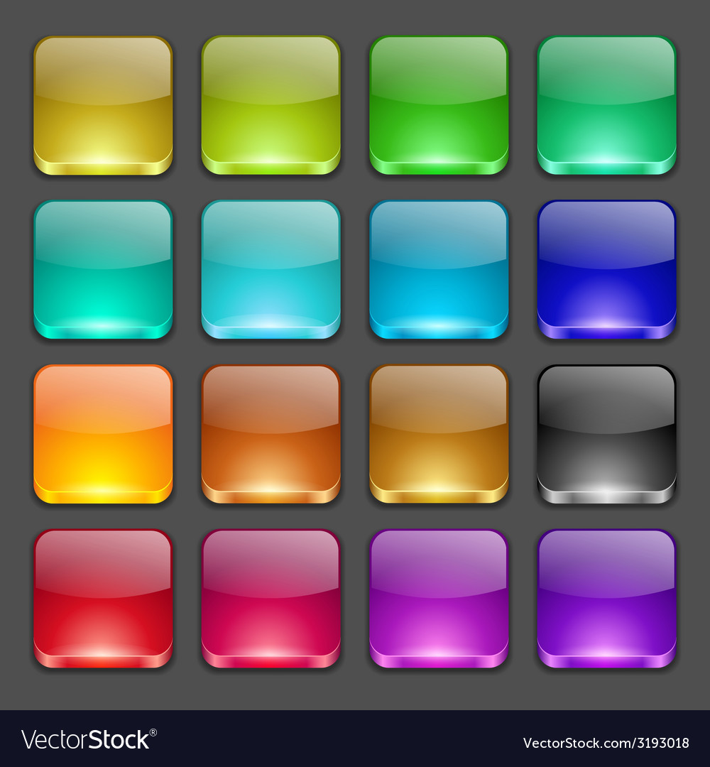 Colorful square glossy buttons vector | Price: 1 Credit (USD $1)
