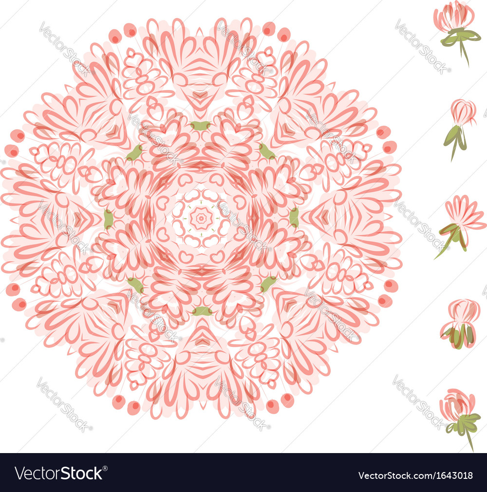 Floral frame circle for your design vector | Price: 1 Credit (USD $1)