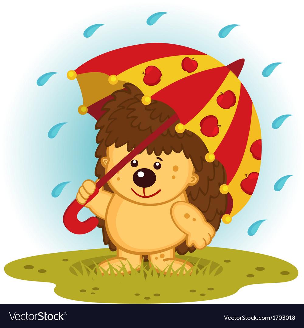 Hedgehog with umbrella in rain vector | Price: 1 Credit (USD $1)