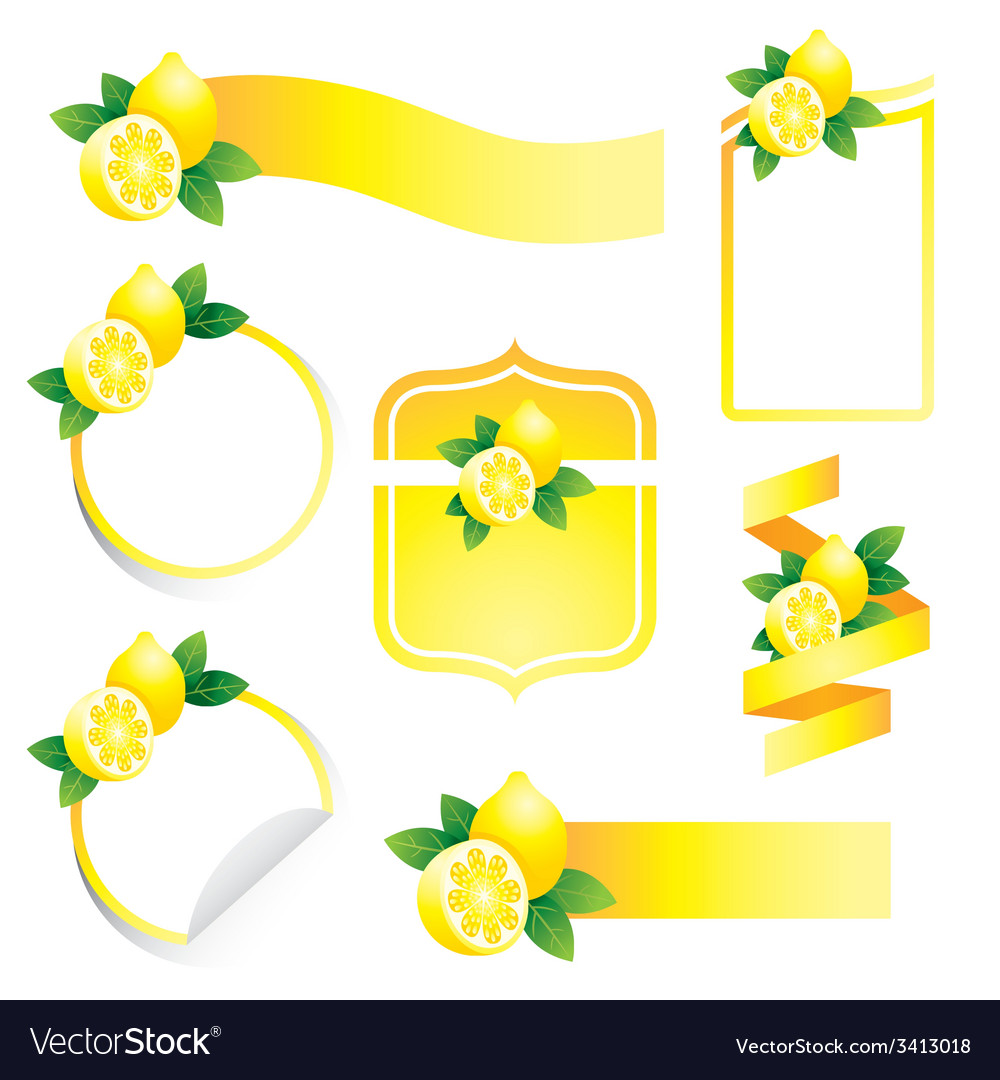 Lemon label set vector | Price: 1 Credit (USD $1)