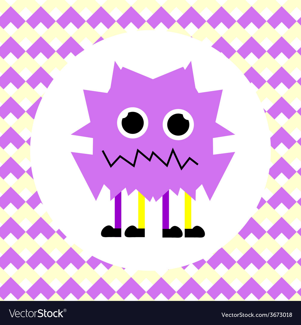 Little cute violet monster vector | Price: 1 Credit (USD $1)