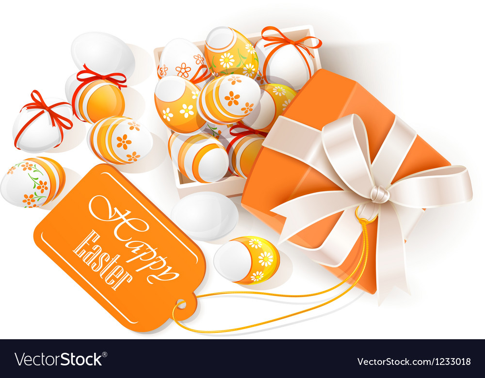 Open box with easter eggs vector | Price: 1 Credit (USD $1)