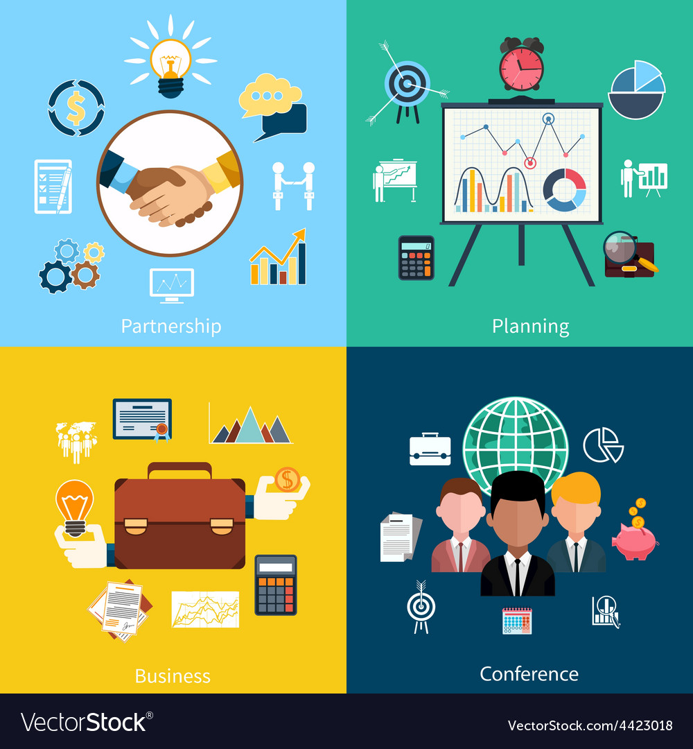 Partnership planning business and conference vector