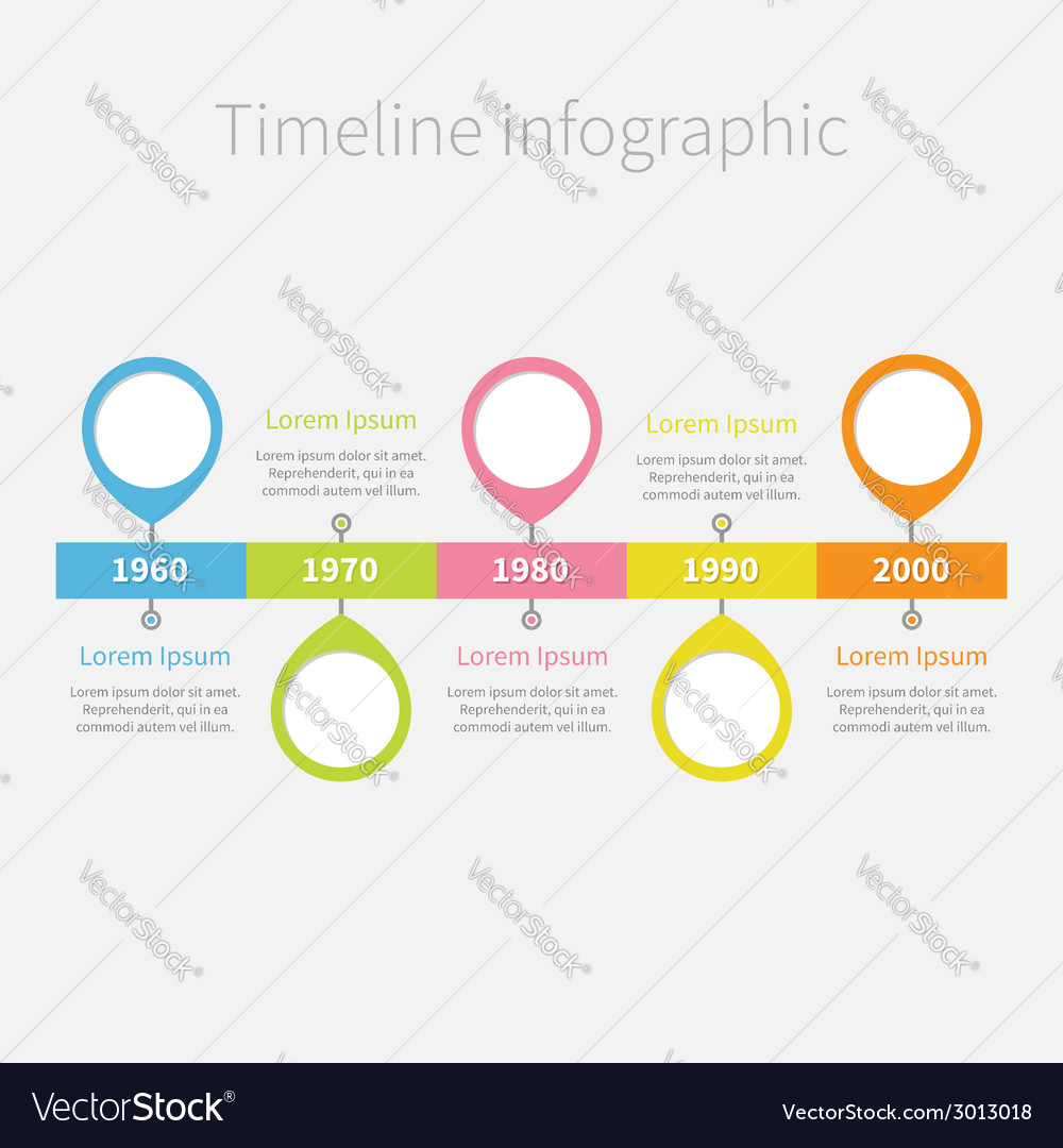 Timeline infographic with placemarks and text vector | Price: 1 Credit (USD $1)