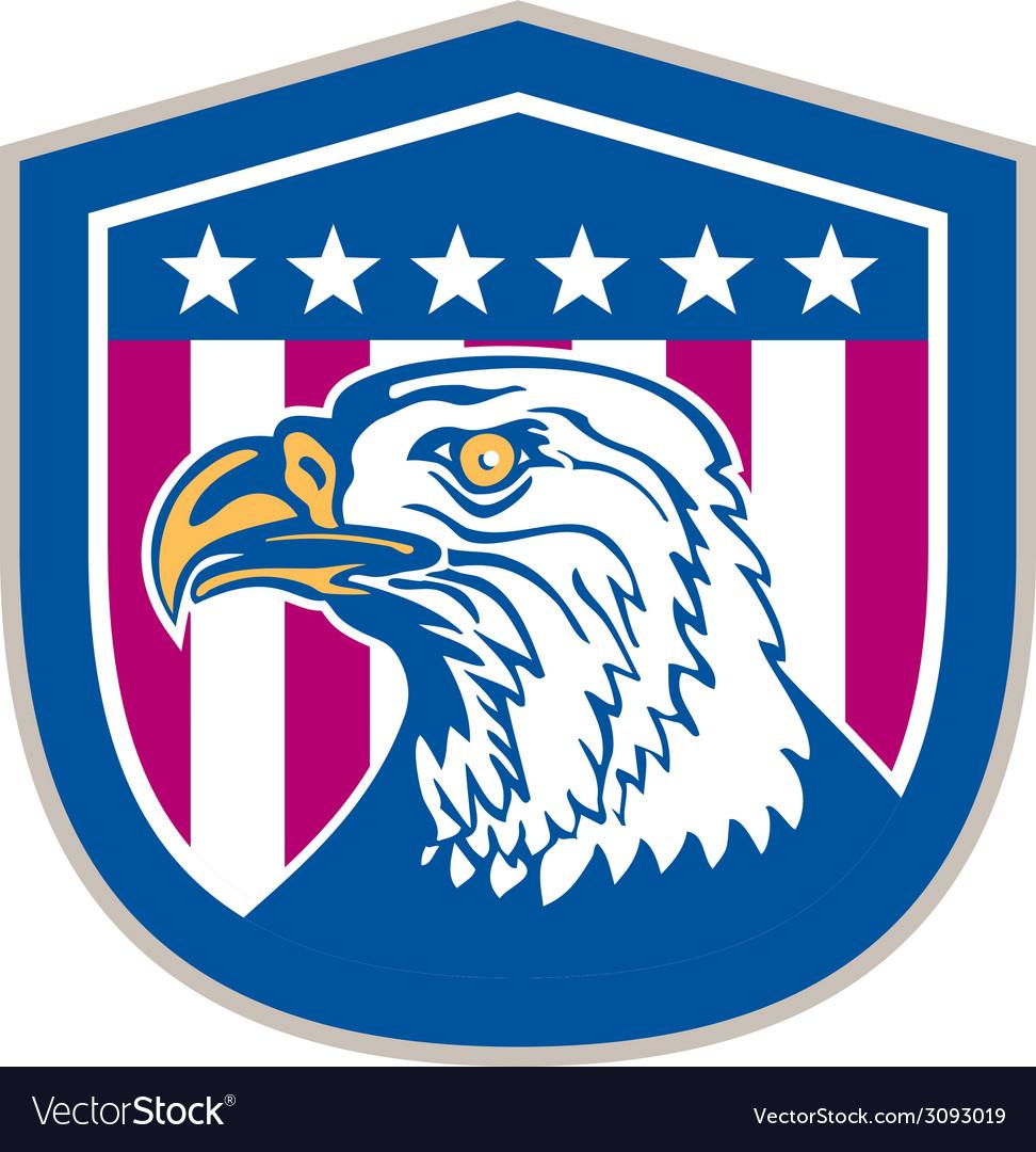 American bald eagle head side stars retro vector | Price: 1 Credit (USD $1)