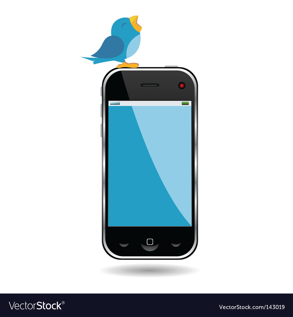 Bird and cell phone vector | Price: 1 Credit (USD $1)