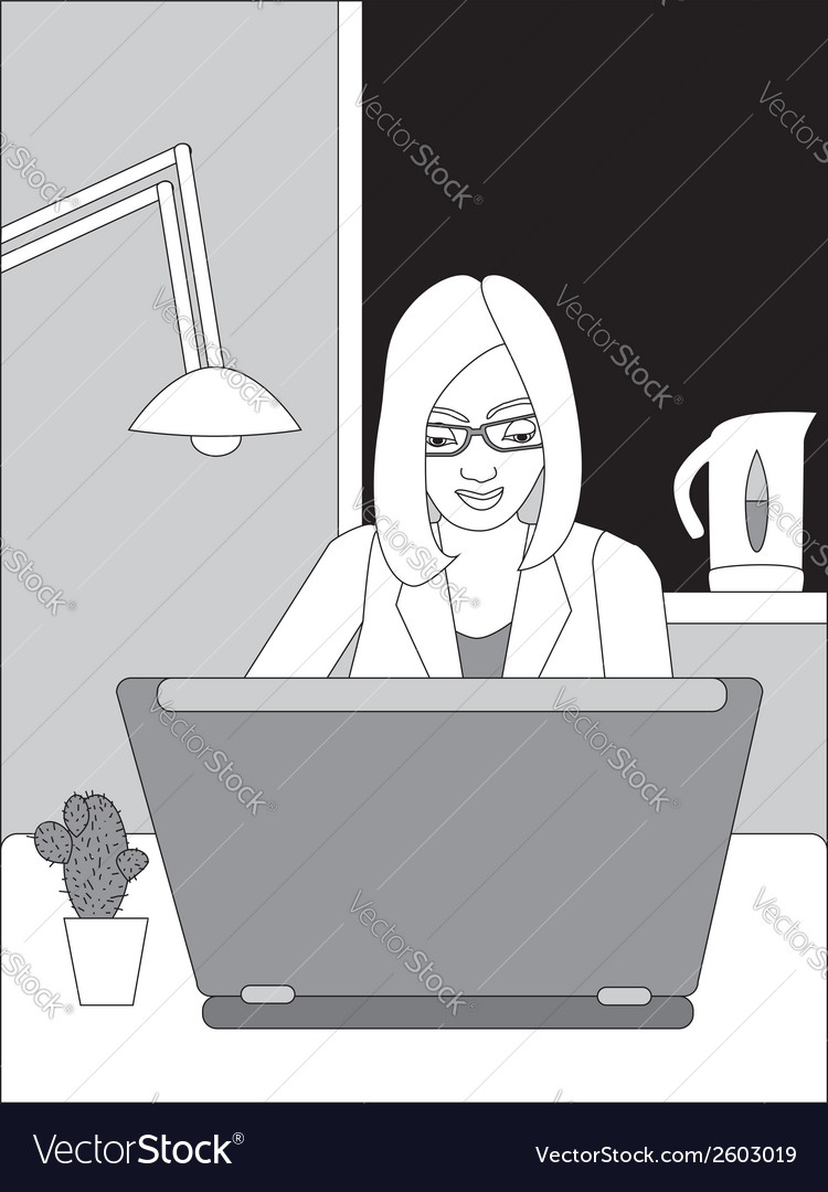 Black and white business woman vector | Price: 1 Credit (USD $1)
