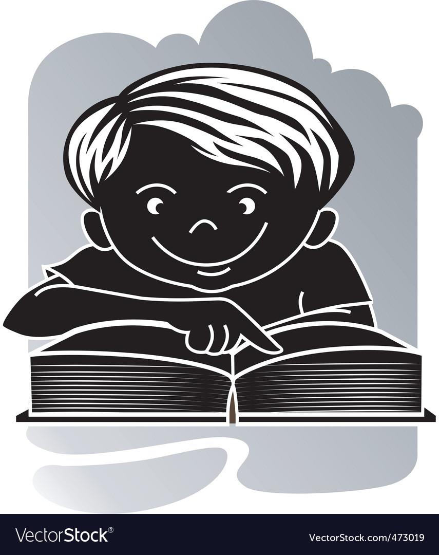 Boy reading vector | Price: 1 Credit (USD $1)