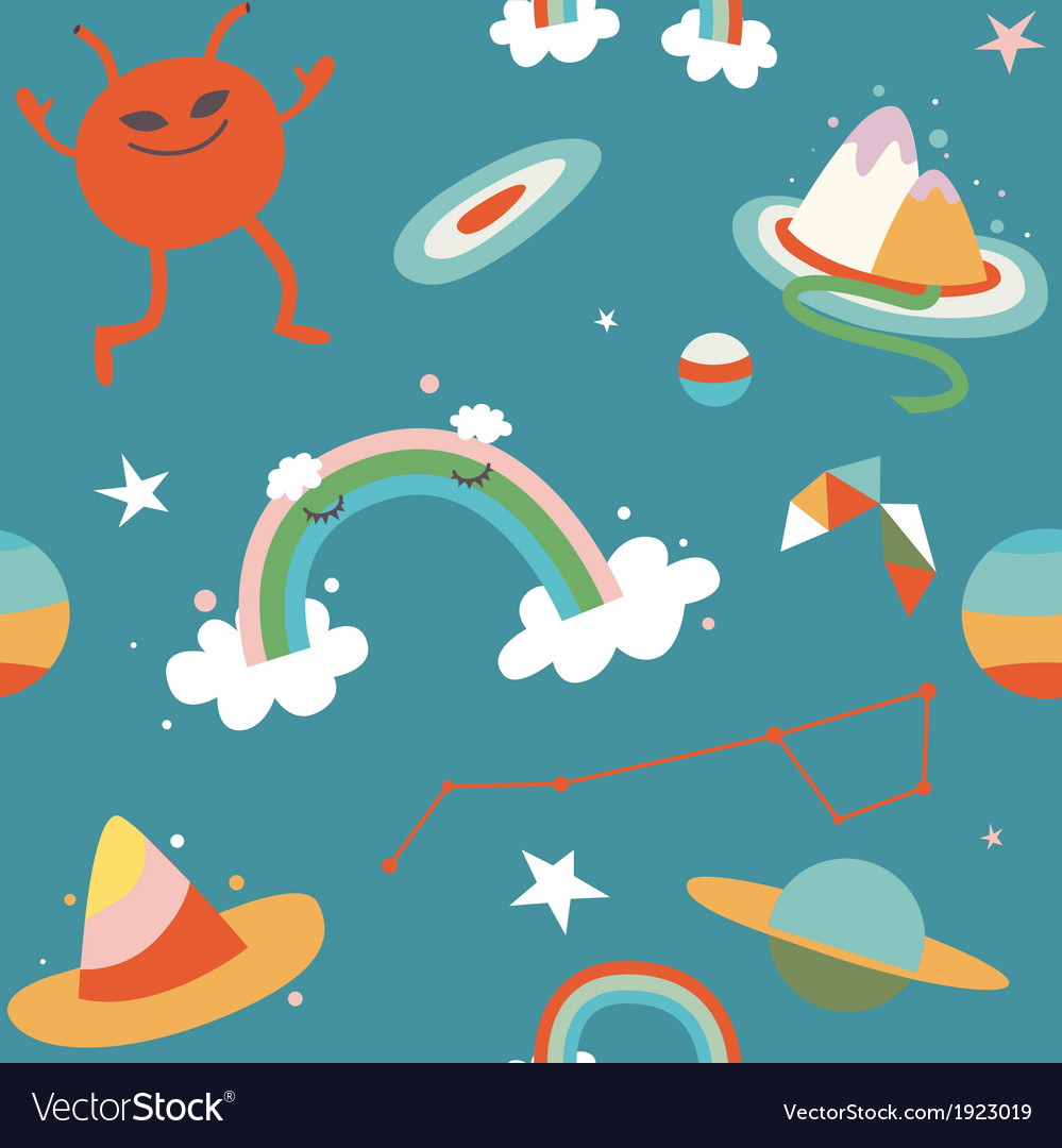 Cartoon cosmos and alien blue seamless pattern vector | Price: 1 Credit (USD $1)