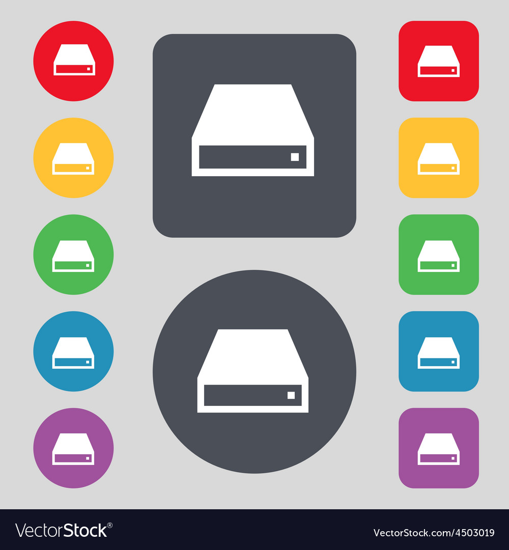 Cd-rom icon sign a set of 12 colored buttons flat vector | Price: 1 Credit (USD $1)
