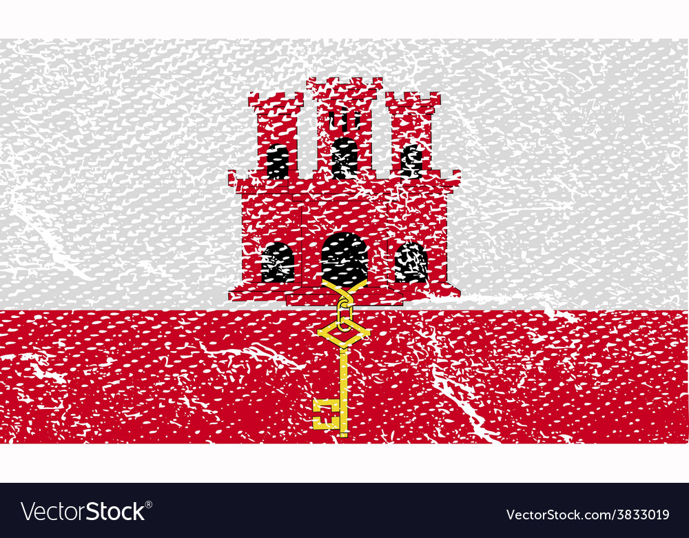 Flag of gibraltar with old texture vector | Price: 1 Credit (USD $1)