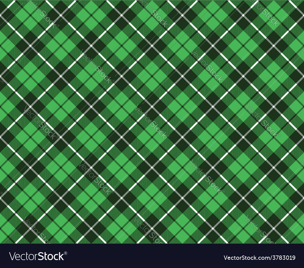 Green tartan fabric texture diagonal pattern vector