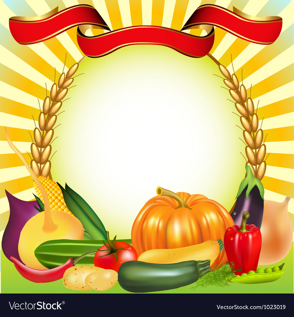 Harvest vegetables frame vector | Price: 1 Credit (USD $1)