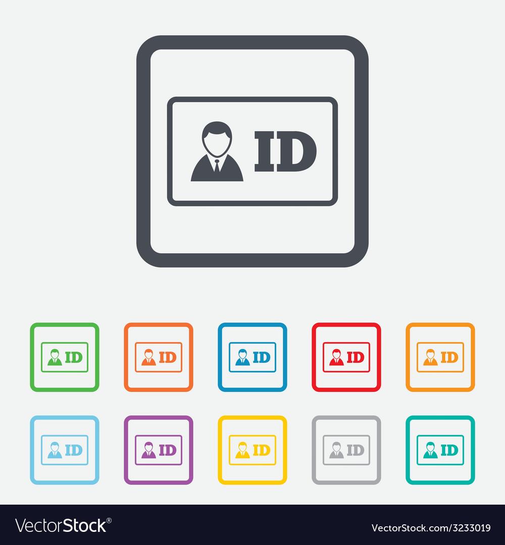 Id card sign icon identity card badge symbol vector | Price: 1 Credit (USD $1)