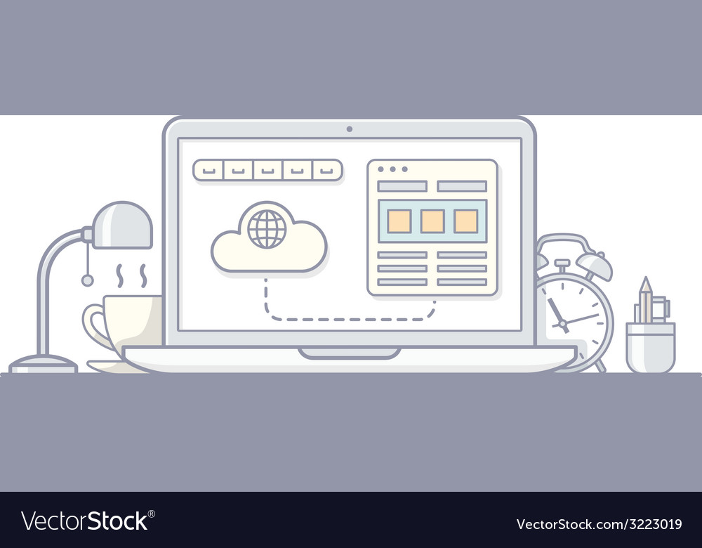 Laptop wireframe style vector | Price: 1 Credit (USD $1)