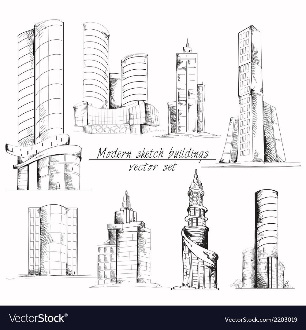 Modern sketch building vector | Price: 1 Credit (USD $1)