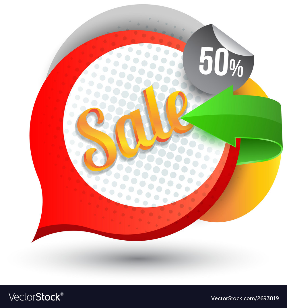 Sale tag banner with arrow vector | Price: 1 Credit (USD $1)