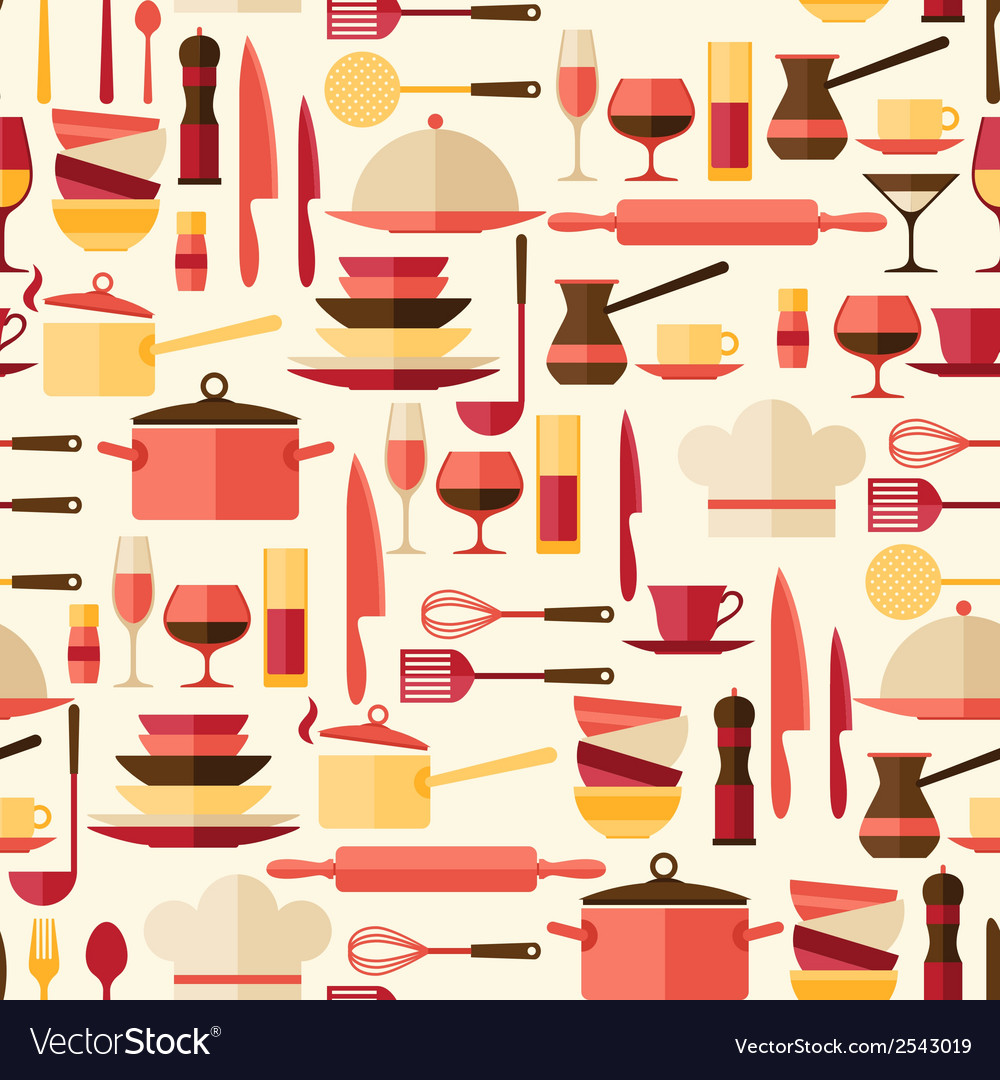 Seamless pattern with restaurant and kitchen vector   Price: 1 Credit (USD $1)