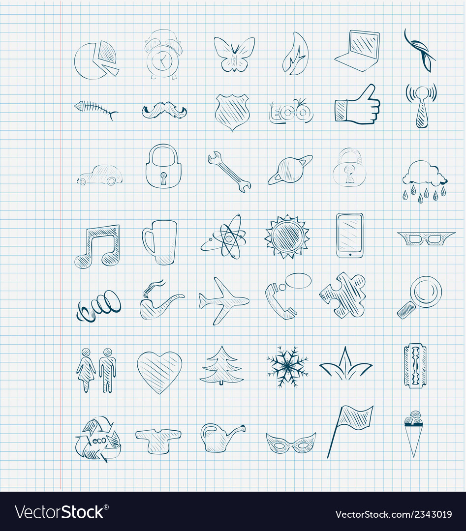 Set of icons sketch vector | Price: 1 Credit (USD $1)