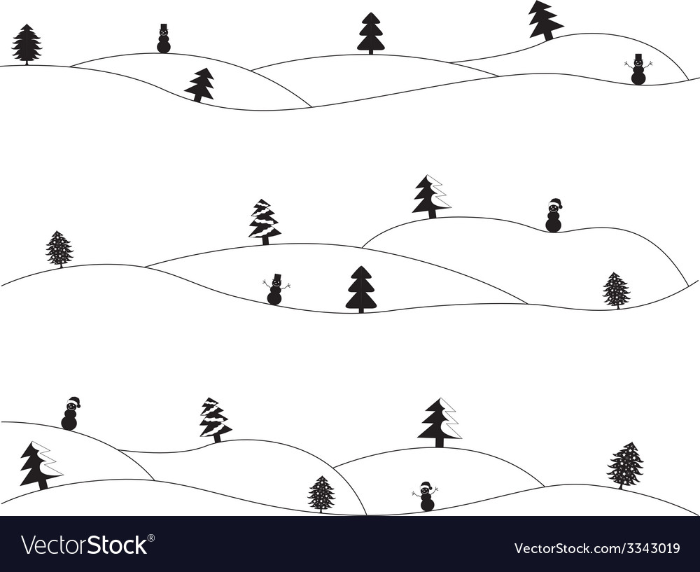 Simple christmas landscapes vector | Price: 1 Credit (USD $1)