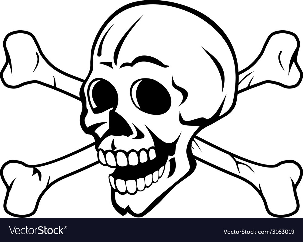 Skull with crossed bones vector | Price: 1 Credit (USD $1)