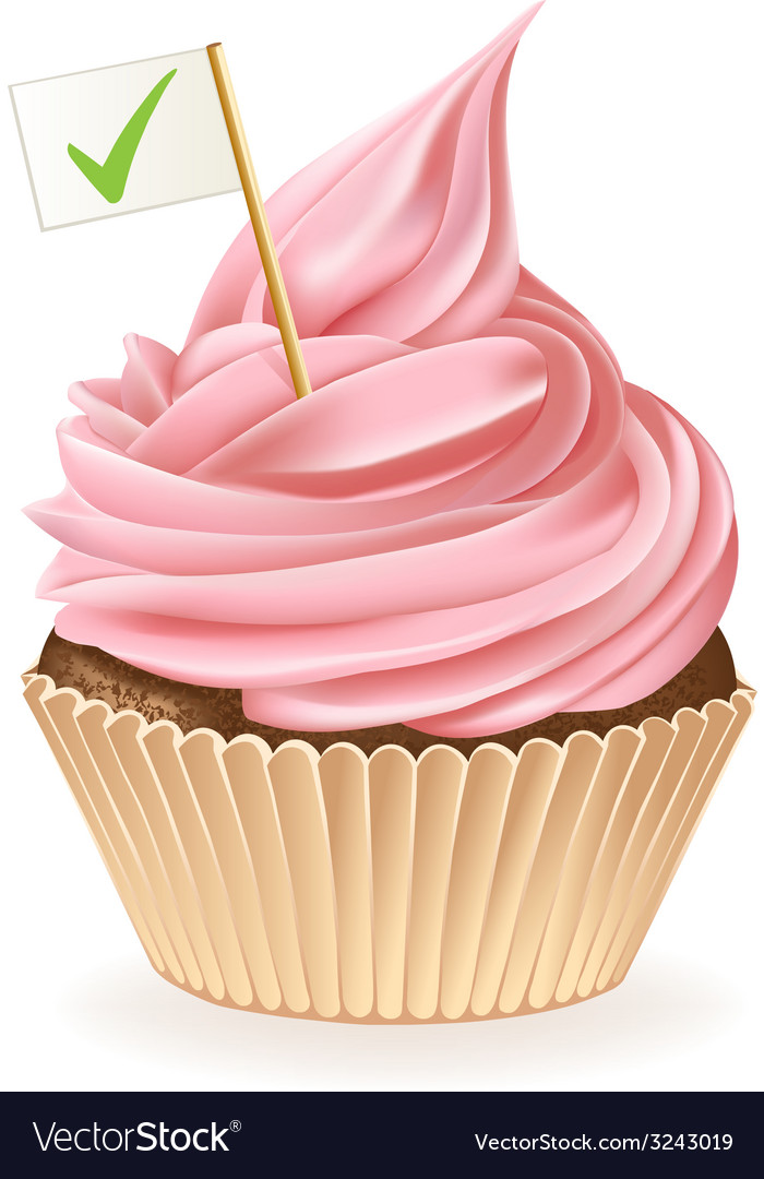 Tick mark cupcake vector | Price: 3 Credit (USD $3)