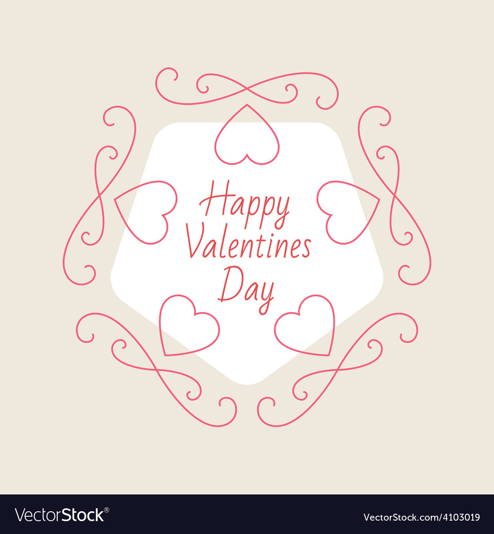 Valentines day elegant card with hearts and design vector | Price: 1 Credit (USD $1)