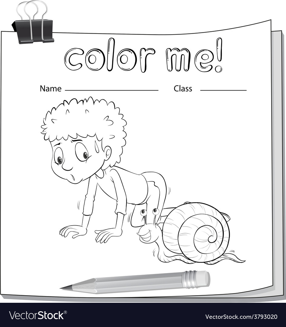 A worksheet showing a boy and a snail vector | Price: 1 Credit (USD $1)