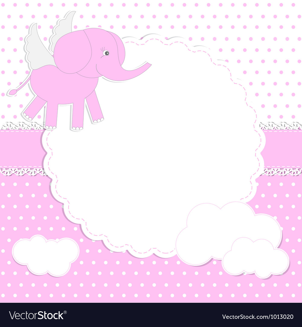 Cute baby girl card vector | Price: 1 Credit (USD $1)