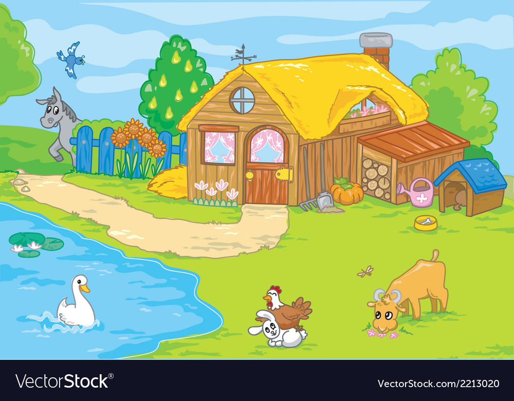 Cute old farm vector | Price: 1 Credit (USD $1)