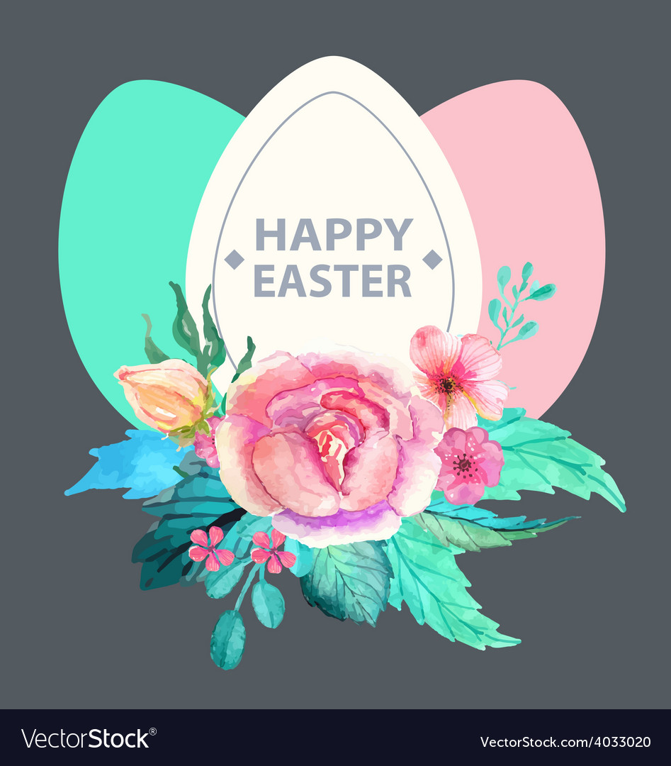Easter watercolor natural with egg sticker vector | Price: 1 Credit (USD $1)