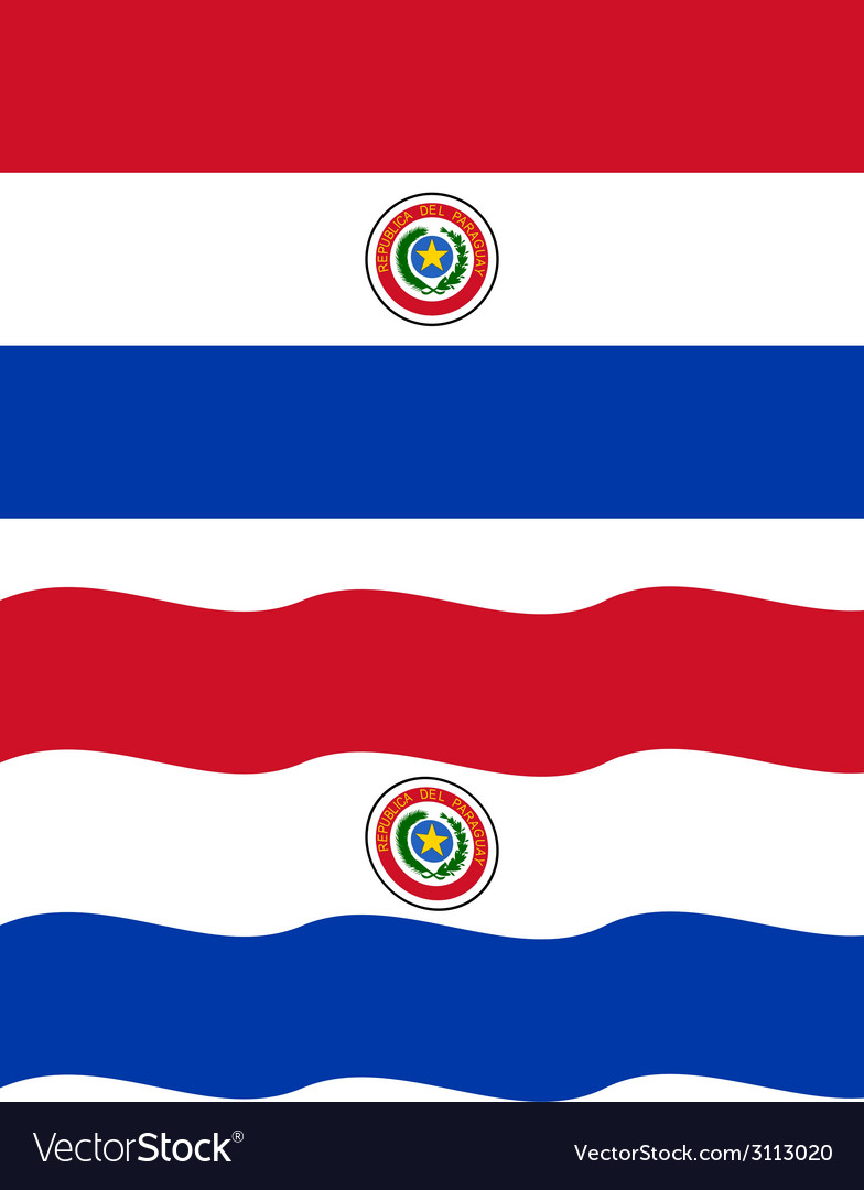 Flat and waving paraguayan flag vector | Price: 1 Credit (USD $1)