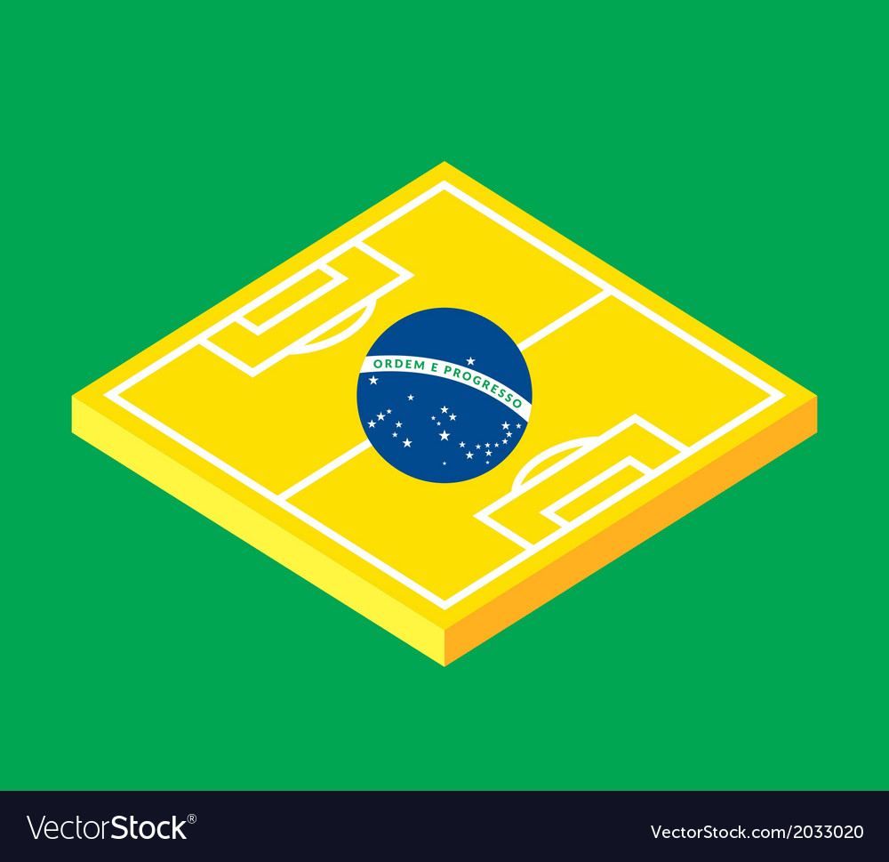 Flat green soccer field brazil flag vector | Price: 1 Credit (USD $1)