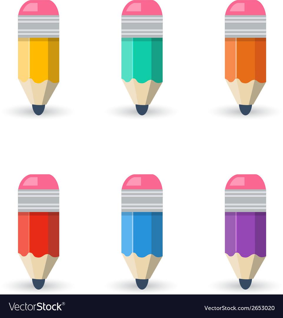 Flat pencils vector | Price: 1 Credit (USD $1)