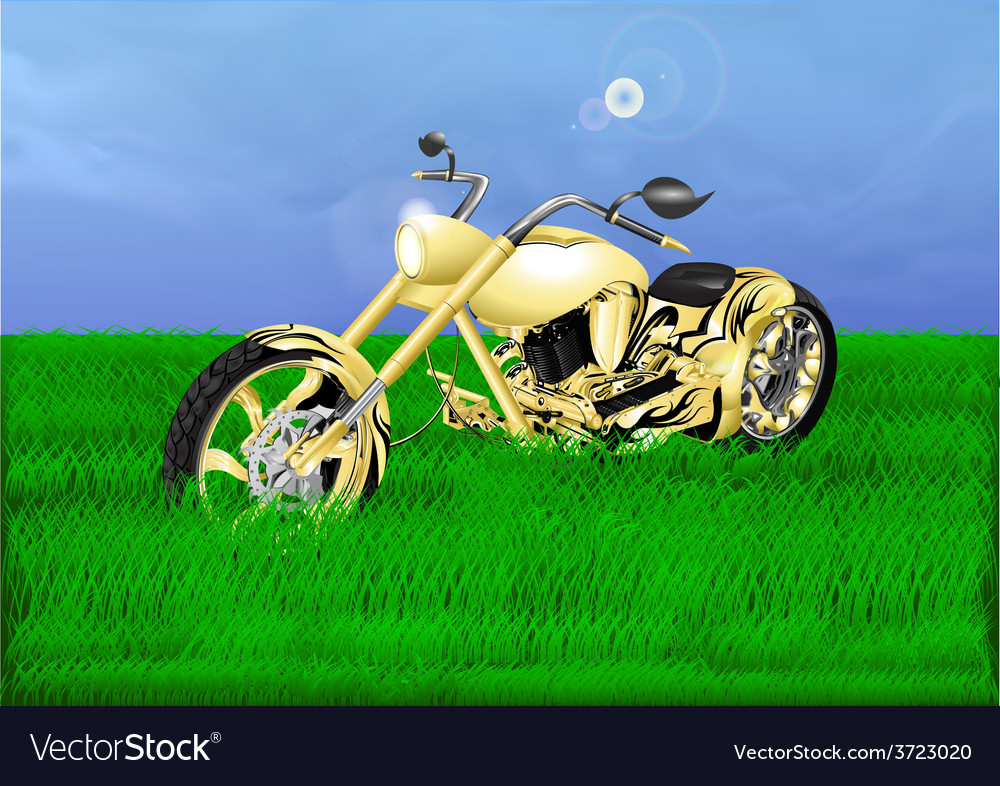 Gold chopper on a green meadow vector | Price: 3 Credit (USD $3)