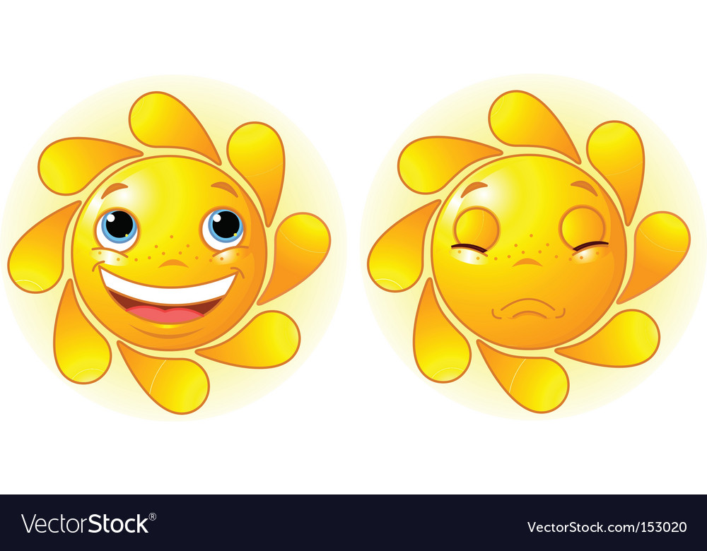 Happy sun and sad sun vector | Price: 1 Credit (USD $1)