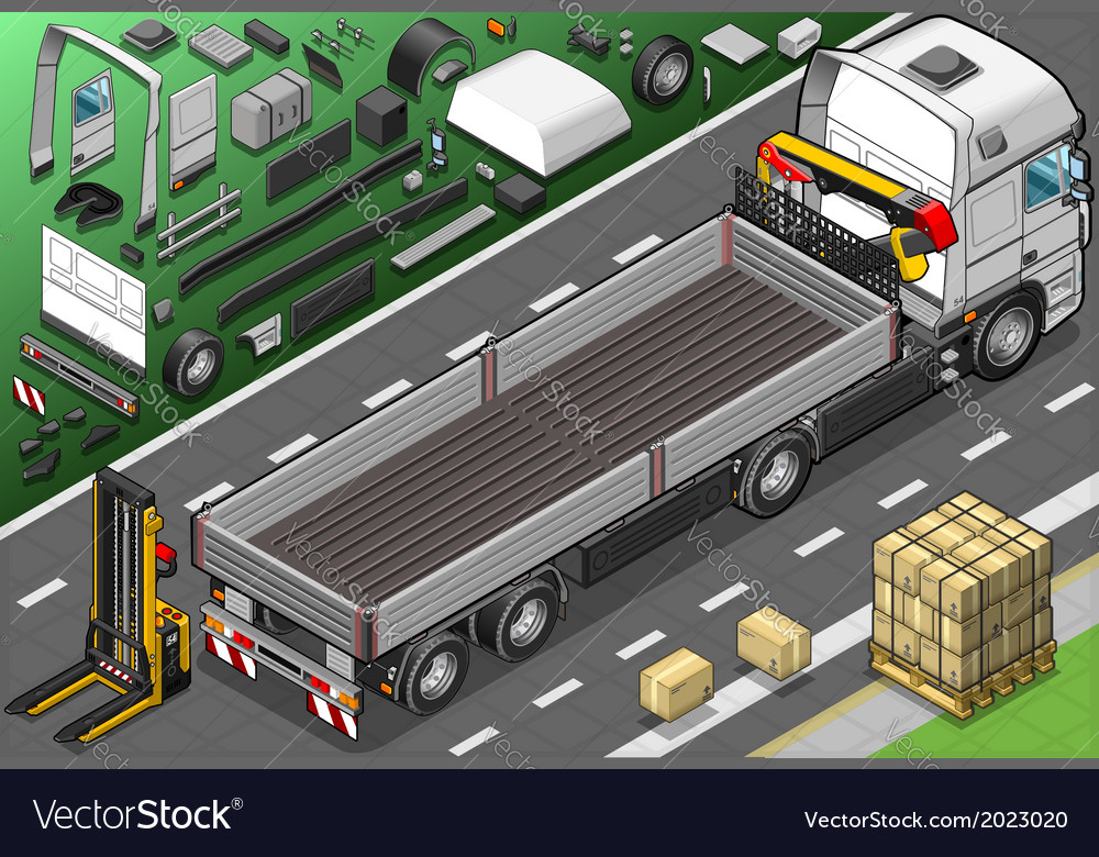 Isometric pick up truck in rear view vector   Price: 1 Credit (USD $1)