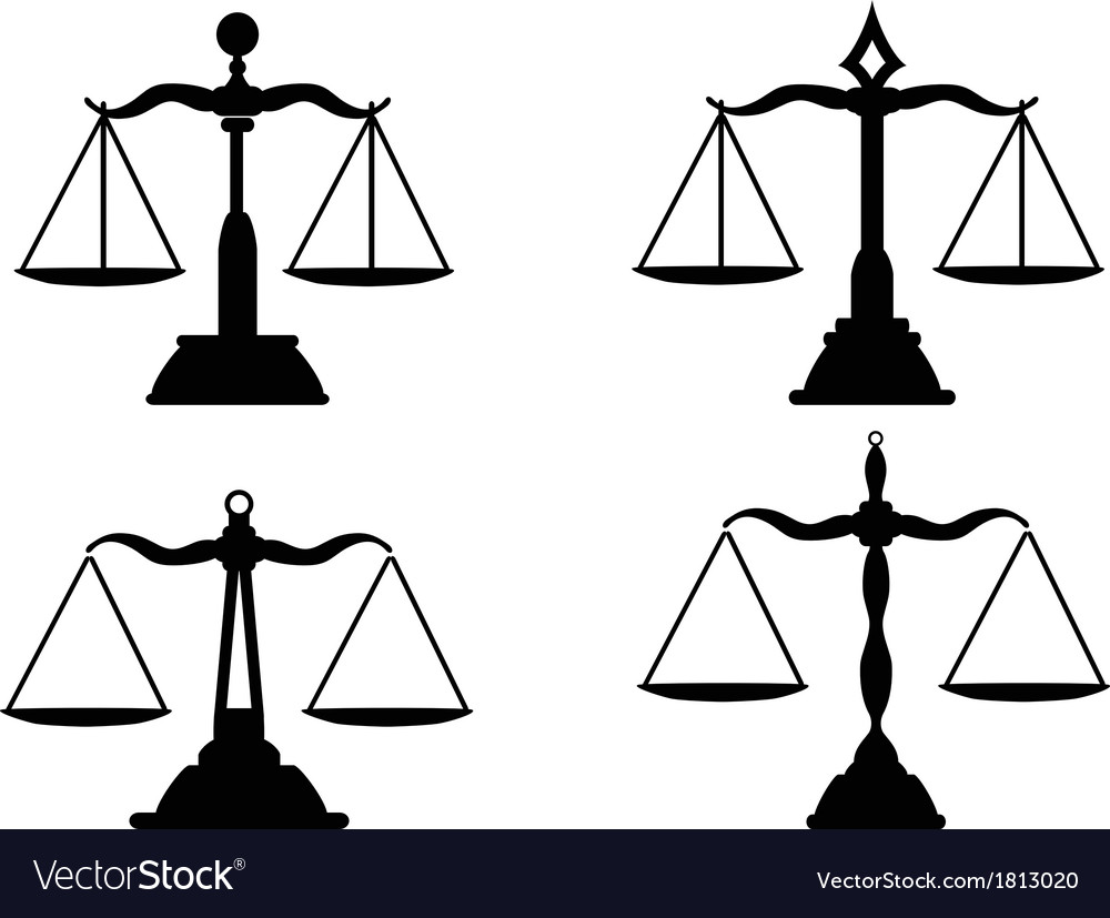 Justice scales silhouette vector | Price: 1 Credit (USD $1)