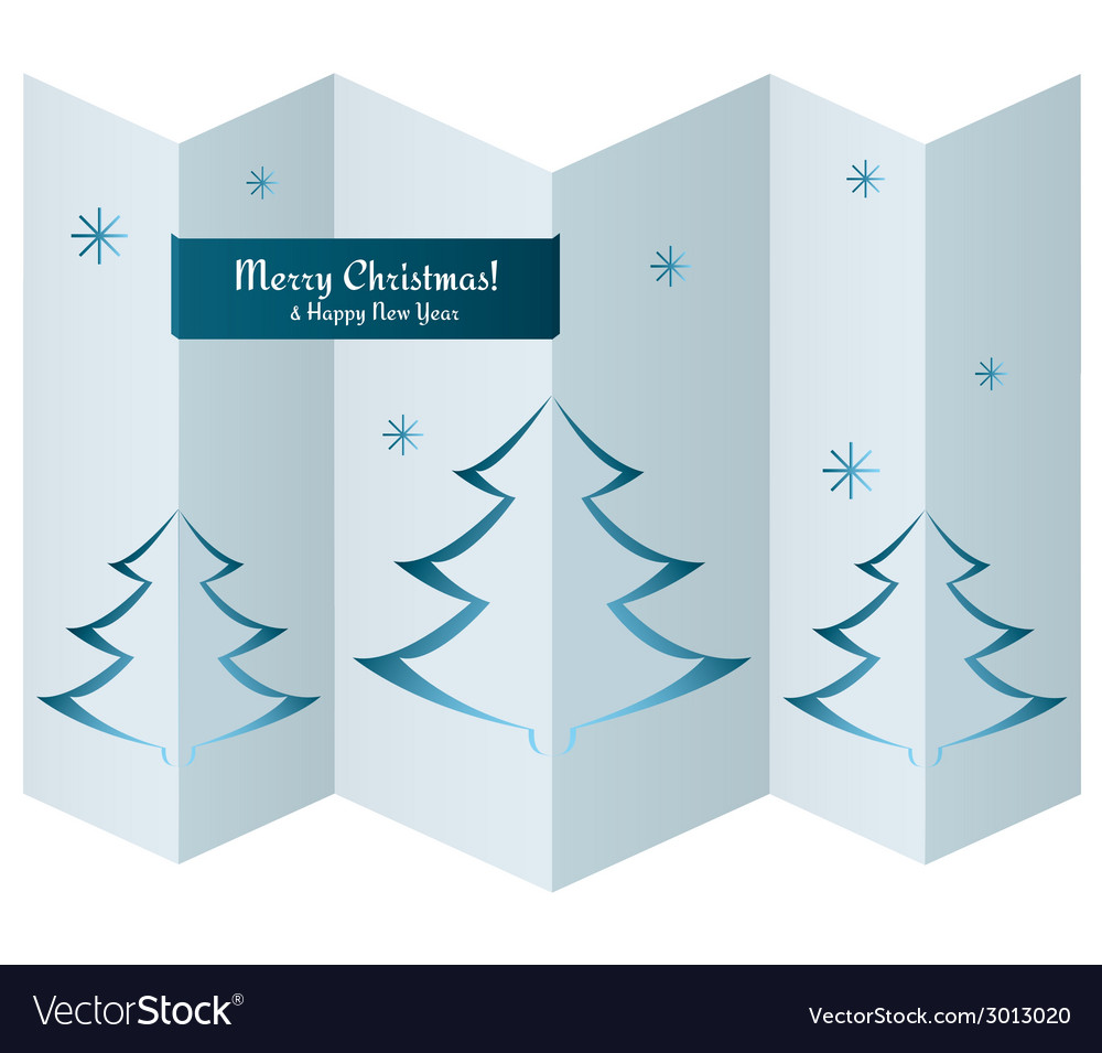 Merry christmas card with trees on paper texture vector | Price: 1 Credit (USD $1)